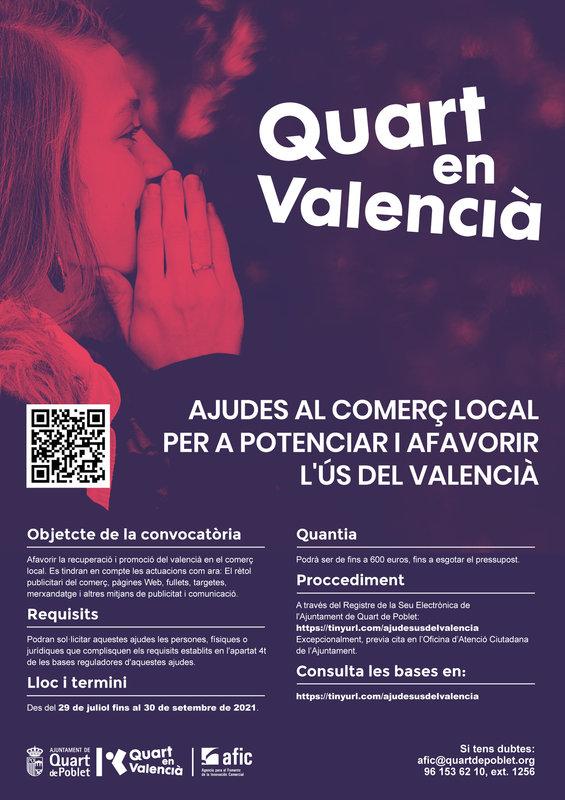 Ayudas al comercio local de Quart de Poblet para potenciar y favorecer el uso del valenciano 2021
