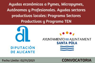 Ayudas sectores productivos locales: Programa Sectores Productivos y Programa TEN - Santa Pola