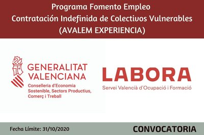 Programa Fomento Empleo Contratación Indefinida de Colectivos Vulnerables (AVALEM EXPERIENCIA)