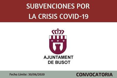Subvenciones por la Crisis sanitaria Covid-19 Ayuntamiento de Busot