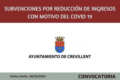 Subvenciones por reducción de ingresos con motivo del Covid 19