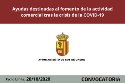 Ayuntamiento de Sot de Chera convoca ayudas destinadas al fomento de la actividad comercial tras la crisis de la COVID-19