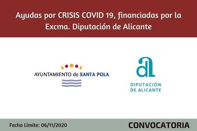Ayudas Ayto Santa Pola por CRISIS  COVID19,  financiadas por la Excma. Diputación de Alicante