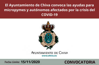 El Ayuntamiento de Chiva convoca las ayudas para micropymes y autónomos afectados por la crisis económica del COVID-19