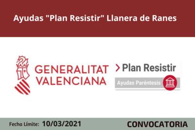 """Ayudas """"Plan Resistir"""" Llanera de Ranes"""